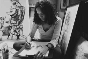 Melissa Fies dans son atelier
